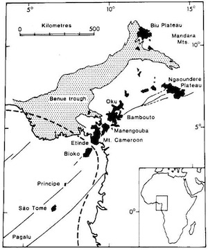 Map of Cameroon Volcanic Line. Cameroon Pics