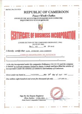 Company's Verify Number Registration - Intercorpration Sarl How A Can I Glink Cameroon