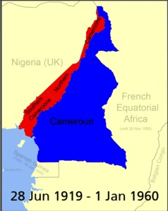 Map of Cameroon 28 June 1919 to 1 January 1960