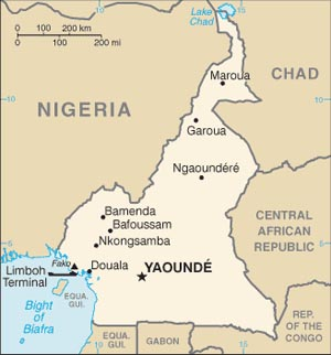 Cameroon Map, location  of Cameroon.