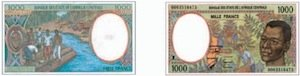 1000FCFA banknote of Cameroon money