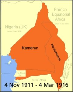 Map of Cameroon 4 November 1911 to 4 March 1916