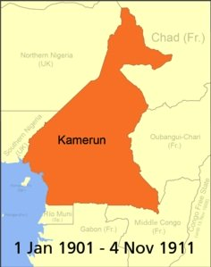 Map of Cameroon Africa 1 Jan 1901 - 4 Nov 1911