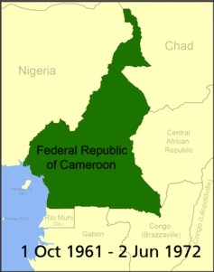 Map Cameroon 1 October 1961 to 2 June 1972