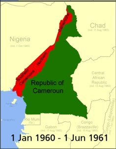 Map of Cameroon 1 January 1960 to 1 June 1961